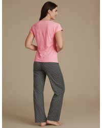 Marks & Spencer - Multicolor Pure Cotton Spotted Short Sleeve Pyjamas - Lyst
