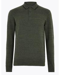 Marks & Spencer Green Cotton Knitted Polo Shirt for men