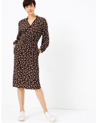 Marks & Spencer Black Floral Print Waisted Midi Dress