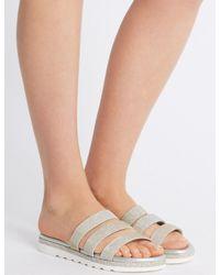 Marks & Spencer Metallic Sparkle Triple Strap Mule Sandals