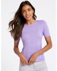 Marks & Spencer - Purple Round Neck Short Sleeve Jumper - Lyst