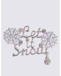 Marks & Spencer - Metallic Let It Snow Brooch - Lyst