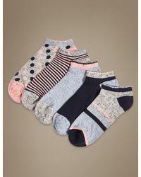 Marks & Spencer Blue 5 Pair Pack Cotton Rich Trainer Liner Socks
