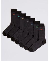 Marks & Spencer Gray 7 Pack Cool & Freshfeettm Bicycle Design Socks for men