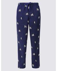 Marks & Spencer | Blue Supersoft Printed Pyjama Bottoms for Men | Lyst