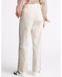 Marks & Spencer - White Pure Cotton Wide Leg Culottes - Lyst