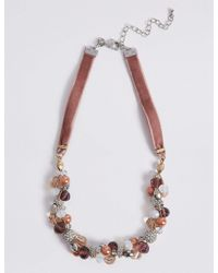 Marks & Spencer | Pink Beaded Twist Necklace | Lyst
