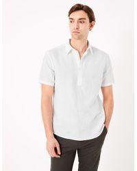 Marks & Spencer White Easy Iron Linen Overhead Shirt for men