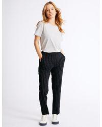 Marks & Spencer Blue Petite Striped Slim Leg Trousers