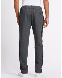 Marks & Spencer - Gray Cotton Rich Tailored Fit Textured Joggers for Men - Lyst