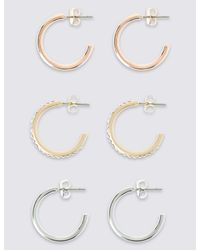 Marks & Spencer - Metallic Mini Hoop Earring Set - Lyst