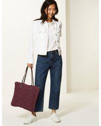 Marks & Spencer Red Straw Zipped Detail Shopper Bag
