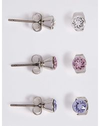 Marks & Spencer - Multicolor 3 Pack Stud Earrings Made With Swarovski Elements - Lyst