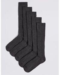Marks & Spencer Gray 5 Pairs Of Long Ribbed School Socks