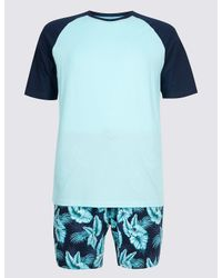 Marks & Spencer Blue Pure Cotton Printed Pyjama Shorts Set for men