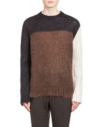 Marni | Brown Crew Neck Sweater In Two-tone Stockinette for Men | Lyst