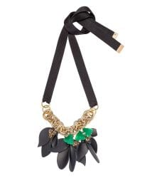 Marni | Green Ribbon Necklace With Leather Flowers | Lyst