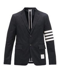 メンズ Thom Browne 4bar コットンツイル シングルジャケット Black