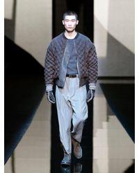 Giorgio Armani - Brown Geometric Intarsia Crew Neck Sweater for Men - Lyst