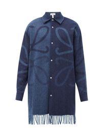 メンズ Loewe アナグラムジャカード フリンジ ウールカシミアシャツ Blue