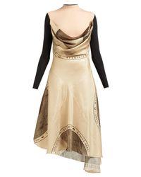 MARINE SERRE Brown Layered Silk Blend Dress