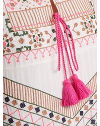 Figue Multicolor Josefina Geometric Embroidered Silk Dress