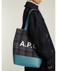 A.P.C. Blue Axelle Checked Felt Tote Bag