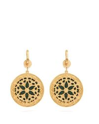 Dolce & Gabbana - Yellow Flower And Crystal-embellished Cross Earrings - Lyst