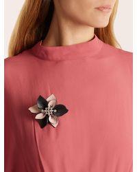 Marni   Multicolor Crystal-embellished Flower Leather Brooch   Lyst