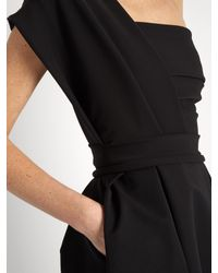 Preen By Thornton Bregazzi Black Ace One-shoulder Pleated Stretch-cady Midi Dress