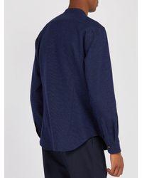 Thom Sweeney - Blue Nehru Collarless Woven-cotton Shirt for Men - Lyst