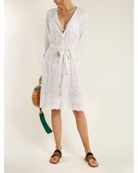 Melissa Odabash - White Cecilia Embroidered Collarless Shirtdress - Lyst