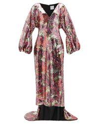 Halpern バルーンスリーブ ブロッサム スパンコール ドレス Multicolor