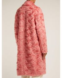 Sportmax - Pink Sella Mohair Blend Shearling Effect Coat - Lyst