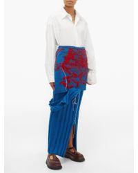 Jupe en maille de laine côtelée drapée MATTY BOVAN en coloris Blue