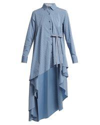 Palmer//Harding Blue Tie-waist Dobby-dot Chambray Shirt