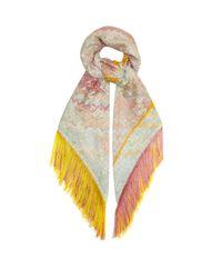 Missoni Multicolor Fringed Zigzag-knitted Shawl