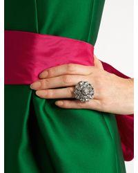 Oscar de la Renta - Multicolor Crystal-encrusted Ring - Lyst