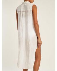 Mes Demoiselles White Sleeveless Dobby-dot Long-line Shirt