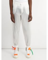 Off-White c/o Virgil Abloh - White Elasticated-waist Technical-cotton Track Pants for Men - Lyst