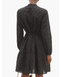 Robe en coton mélangé à broderie anglaise GG Gucci en coloris Black