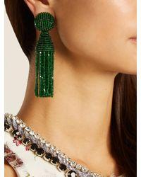 Oscar de la Renta - Green Bead-embellished Tassel-drop Clip-on Earrings - Lyst