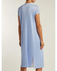 Pleats Please Issey Miyake - Blue Short-sleeved Pleated Jacket - Lyst