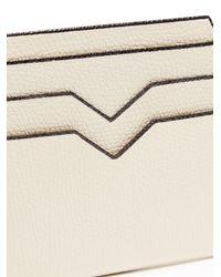 Valextra White Grained Leather Cardholder for men