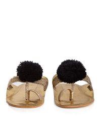 Figue Black Leo Pompom-embellished Leather Sandals