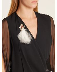 Lanvin - White Feather And Crystal-embellished Brooch - Lyst