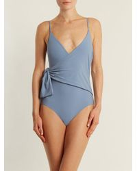 Stella McCartney Blue Wrap-style Deep V-neck Swimsuit
