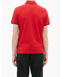 メンズ Moncler コットンピケ ポロシャツ Red