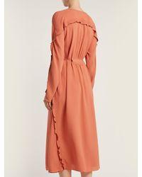 Bottega Veneta Orange Ruffle-trimmed Silk Dress