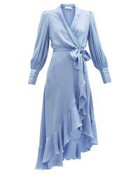 Zimmermann シルクラップドレス Blue